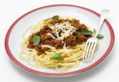 Spaghetti with a homemade bolognese sauce, incorporating tomato puree, minced beef, wine, pine-nuts,