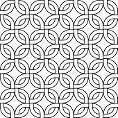 Abstract geometric woven squares seamless pattern in black and white, vector