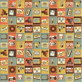 Retro media hipster style pattern. Vector seamless background.