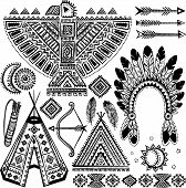stock photo of tipi  - Tribal vintage native American set of symbols - JPG