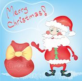 Merry Christmas Holiday Greeting Card Santa Claus Cartoon Character With Presents Bag Hand Drawn Tre