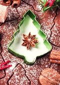 Christmas Background With Gingerbread Baking Dough, Cookie Cutters, Spices And Nuts. Christmas Festi