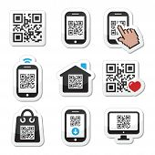 foto of qr-code  - Scanning QR code with smartphone vector labels set isolated on white - JPG