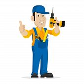 stock photo of cap gun  - Illustration repairman holds screw gun - JPG
