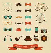 stock photo of mustache  - Hipster Colorful Retro Vintage Vector Icon Set - JPG