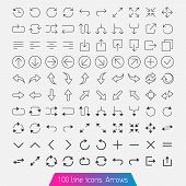 100 Line Icon Set - Arrows.