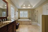 image of granite  - Master bath with glass shower granite counter - JPG