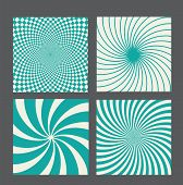 picture of octagon shape  - retro vintage hypnotic background set - JPG