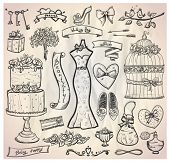 Wedding bridal graphic set with cake, dress, accessories, hearts and ribbons. Eps10.