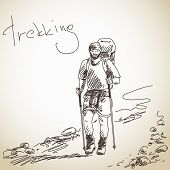 Sketch of Trekking man with big backpack Vector