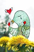stock photo of broken heart flower  - Mixed media illustration and photography - JPG