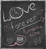 Love Forever And Romantic Time Concept Hand Drawn On Blackboard With Abstract Clock And Set With Hea