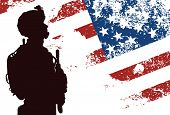 stock photo of guns  - US soldier with the American Flag on the background - JPG