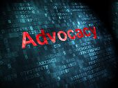 Law concept: Advocacy on digital background