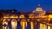 St. Peter'S Basilica And A Bridge On Tiber River, Rome Italy