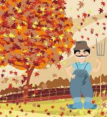 stock photo of redneck  - smiling redneck in Autumn landscape  - JPG