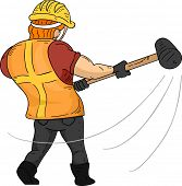 Back View Illustration of a Muscular Construction Worker Swinging a Sledgehammer