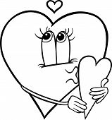 Heart With Valentine Card Coloring Page