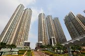 picture of highrises  - Highrise apartment buildings in Hong Kong China - JPG