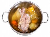 Open Steel Pan With Cooking Beef Broth