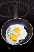 Two Fried Eggs In Frying Pan