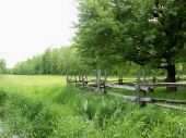 A Wooden Fence In A Meadow