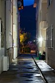 Dark Back Alley On A Wet Night