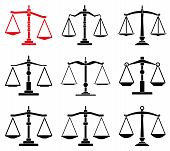 stock photo of equality  - vector set of law scales icons isolated on white - JPG