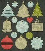 Vintage Christmas Labels Over Grunge Brown Background, Vector