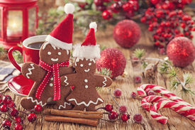 image of gingerbread man  - Christmas gingerbread man and hot drink - JPG