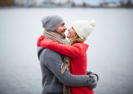 picture of flirty  - Portrait of happy and his girlfriend in embrace - JPG