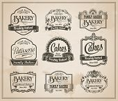 Vintage Retro Bakery Labels and Sign Set - Vector Design