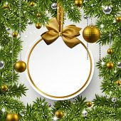 Christmas background with fir twigs and golden balls. Round paper label on gift bow. Vector illustration.