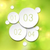 White paper round speech bubbles over green  background. Vector illustration.