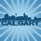 Calgary skyline reflected with blue sunburst vector illustration