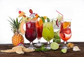 Summer drinks on the beach, close-up.