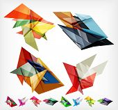 Triangle geometric shaped web boxes. Corporate abstract business templates.