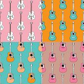 Fun easy to edit seamless guitar illustration music theme background pattern collection in vector