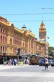 Flinders street station and tram