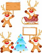 picture of rudolph  - Four separately grouped little Rudolph - JPG