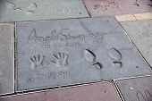 Handprints On Ground In Cement Of Arnold Schwarzenegger