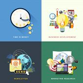 image of newsletter  - flat design concept of time is money business development newsletter and marketing research - JPG