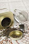 Organic black tea in metal can