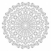 Black And White Round Lace Pattern.