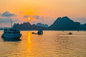 Golden Sunset In Halong Bay
