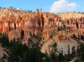 foto of hoodoo  - Hoodoos and pine trees in Bryce Canyon National Park - JPG