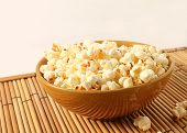 Popcorn In Bowl Isolated In White Background