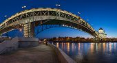 Panorama Of Christ The Saviour Cathedral And Patriarshy Bridge In The Evening, Moscow, Russia