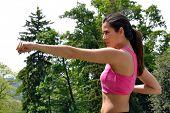 outdoor fitness latin woman training.