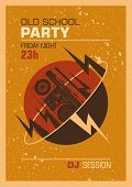 Old school party poster design. Vector illustration.